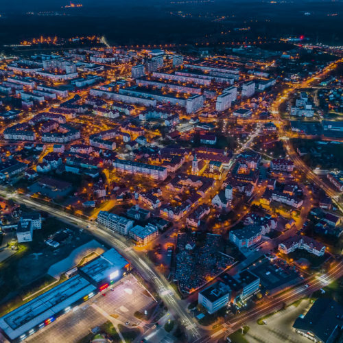 Widok z góry na miasto Polkowice